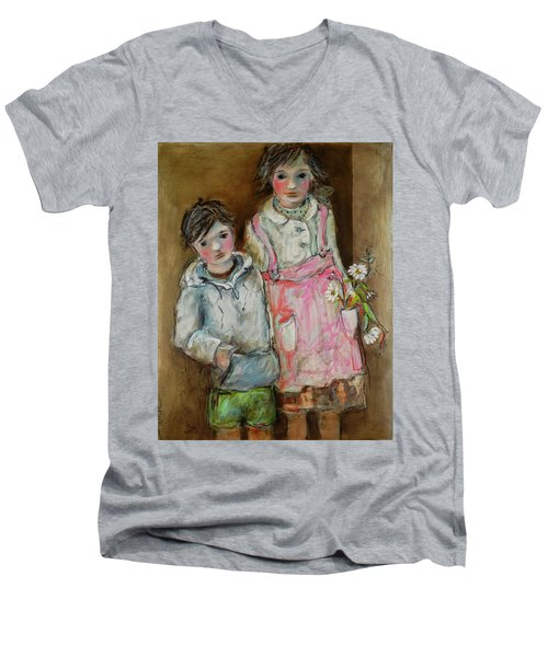 Wishes On A Daisy Men's V-Neck T-Shirt by Sharon Furner