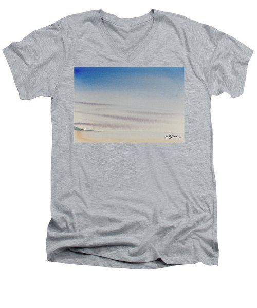 Wisps Of Clouds At Sunset Over A Calm Bay Men's V-Neck T-Shirt