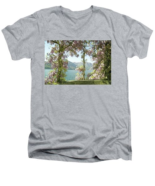 Wisteria Trellis Lago Di Como Men's V-Neck T-Shirt by Brooke T Ryan