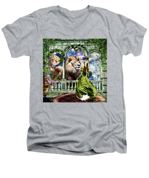 Men's V-Neck T-Shirt featuring the digital art With Him I Speak Face To Face by Dolores Develde