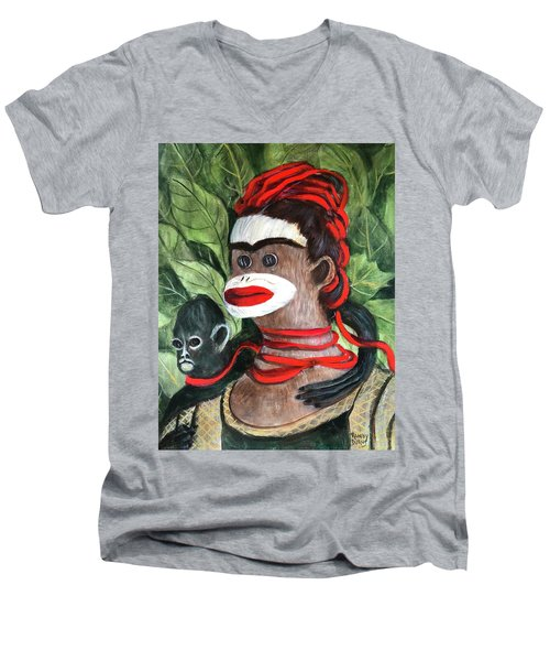 With Love To The Artist Frida Kahlo Men's V-Neck T-Shirt