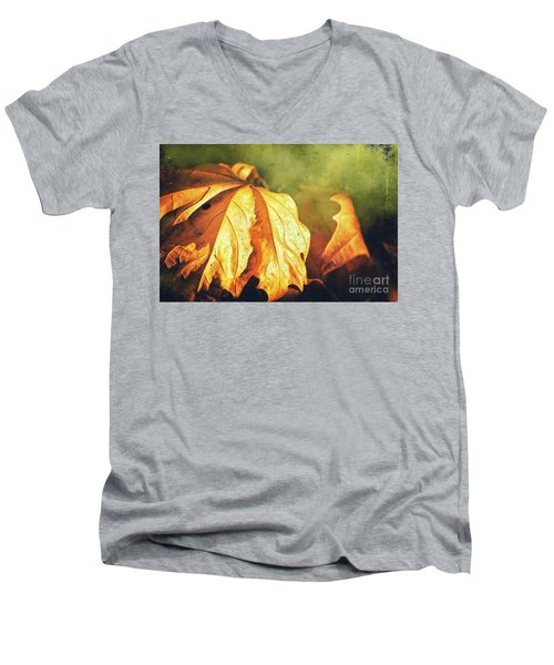 Men's V-Neck T-Shirt featuring the photograph Withered Leaves by Silvia Ganora