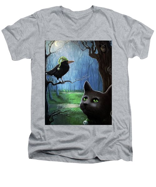Wit's End - Winter Nightime Forest Men's V-Neck T-Shirt by Linda Apple