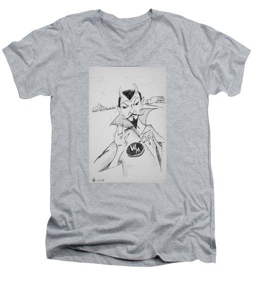 Wm Blue Devils Sign Men's V-Neck T-Shirt by Loretta Nash