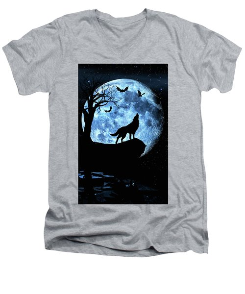Wolf Howling At Full Moon With Bats Men's V-Neck T-Shirt by Justin Kelefas