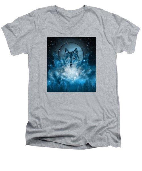 Wolf In Blue Men's V-Neck T-Shirt by Bekim Art