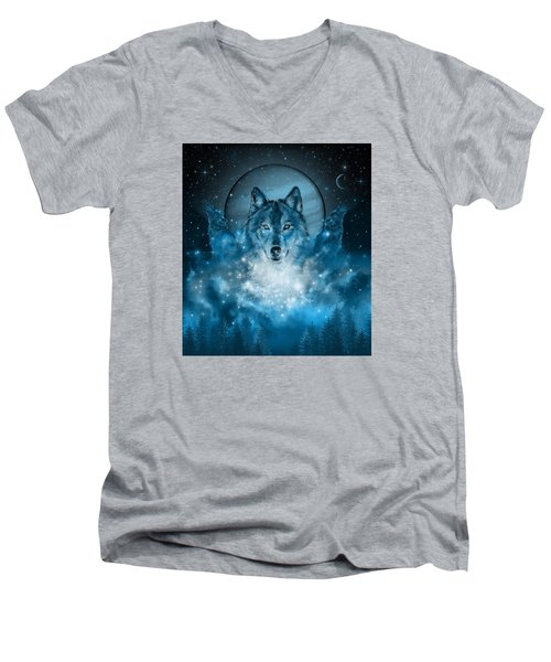 Wolf In Blue Men's V-Neck T-Shirt