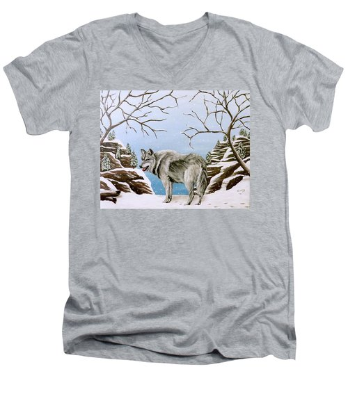 Men's V-Neck T-Shirt featuring the painting Wolf In Winter by Teresa Wing