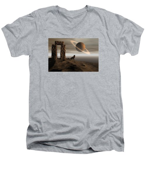 Wolf Song Men's V-Neck T-Shirt by Claude McCoy