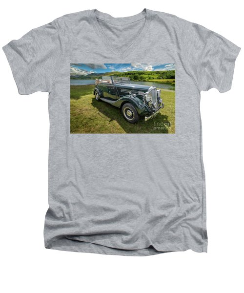 Men's V-Neck T-Shirt featuring the photograph Wolseley Classic Car by Adrian Evans
