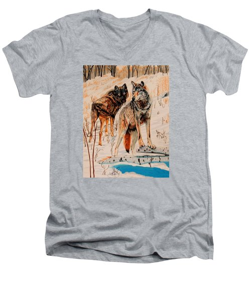 Wolves At Day Break Men's V-Neck T-Shirt by Cheryl Poland