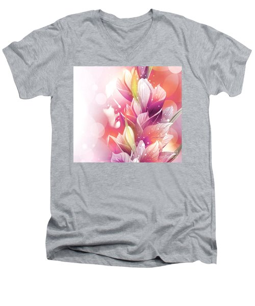 Woman And Flowers Men's V-Neck T-Shirt by Annie Zeno