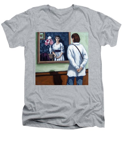 Woman At Art Museum Figurative Painting Men's V-Neck T-Shirt by Linda Apple