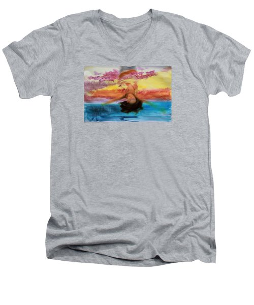 Men's V-Neck T-Shirt featuring the photograph Woman Engulfed by Bob Pardue