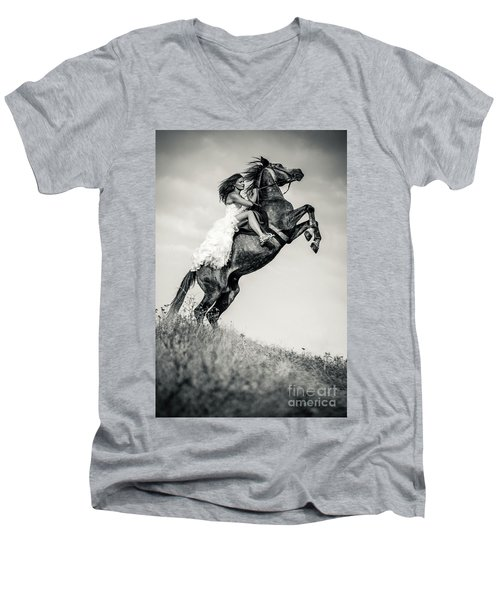 Men's V-Neck T-Shirt featuring the photograph Woman In Dress Riding Chestnut Black Rearing Stallion by Dimitar Hristov