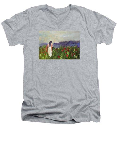 Woman In White Men's V-Neck T-Shirt