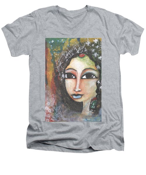 Men's V-Neck T-Shirt featuring the mixed media Woman - Indian by Prerna Poojara
