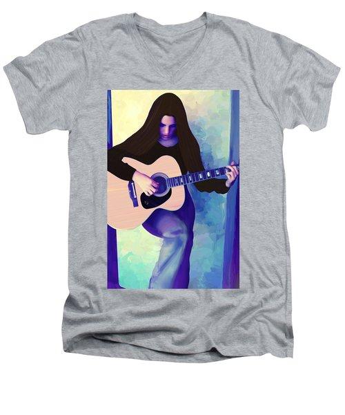 Woman Playing Guitar Men's V-Neck T-Shirt