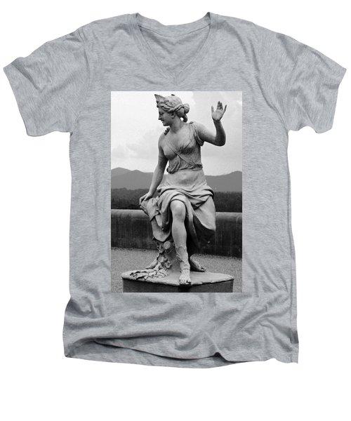Men's V-Neck T-Shirt featuring the sculpture Woman Sculpture Nc by Eric  Schiabor
