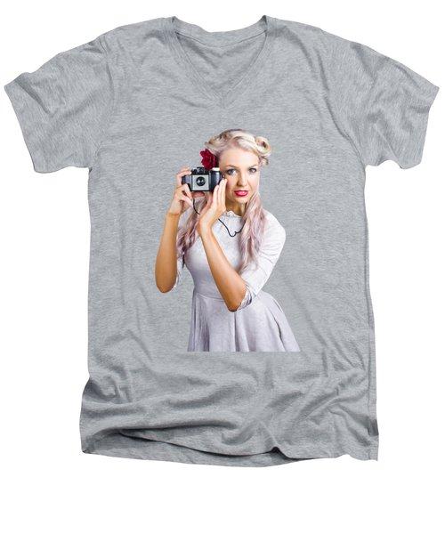 Woman Using Retro Film Camera Men's V-Neck T-Shirt by Jorgo Photography - Wall Art Gallery