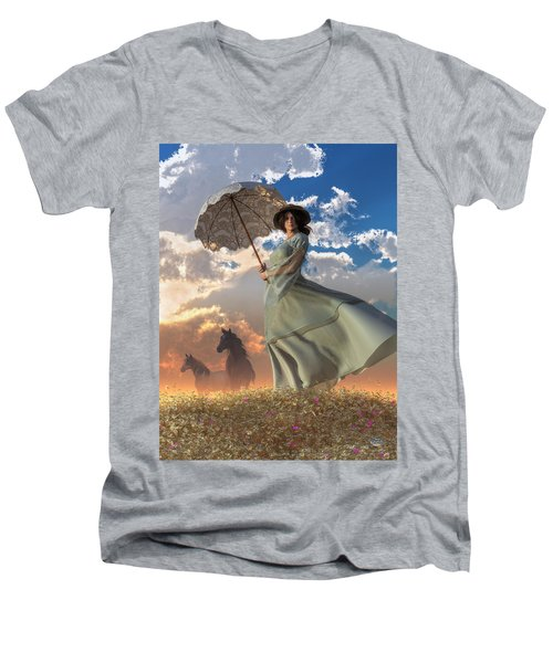 Woman With A Parasol Men's V-Neck T-Shirt