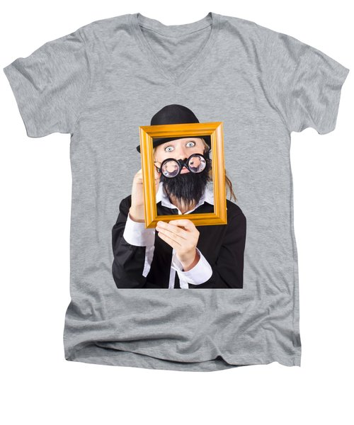 Men's V-Neck T-Shirt featuring the photograph Woman With Empty Picture Frame by Jorgo Photography - Wall Art Gallery