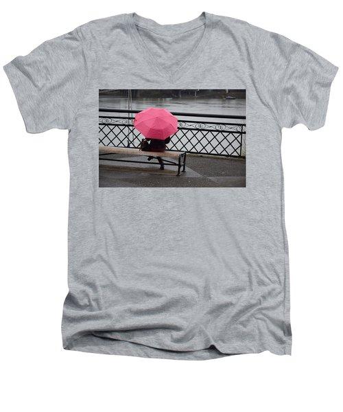 Woman With Pink Umbrella. Men's V-Neck T-Shirt