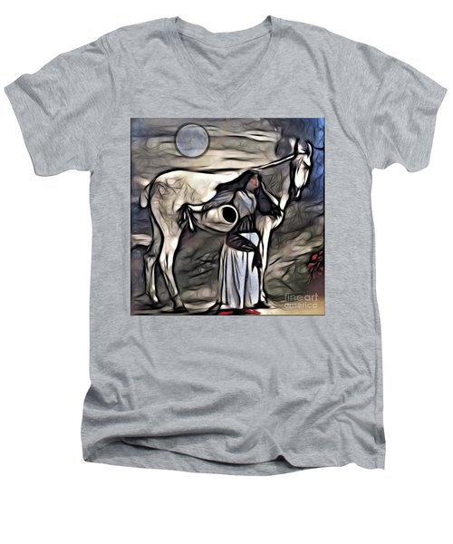 Woman With White Horse Men's V-Neck T-Shirt