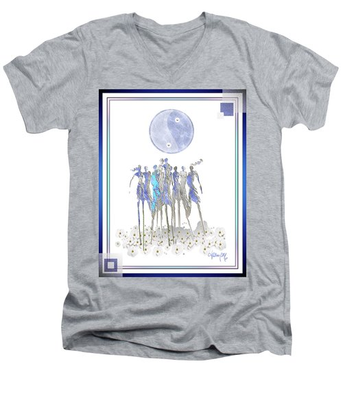 Women Chanting - Full Moon Flower Song Men's V-Neck T-Shirt