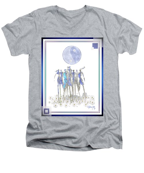 Women Chanting - Full Moon Flower Song Men's V-Neck T-Shirt