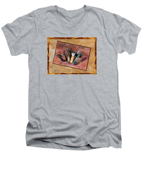 Men's V-Neck T-Shirt featuring the photograph Women's Favorite Tools by Shirley Mangini