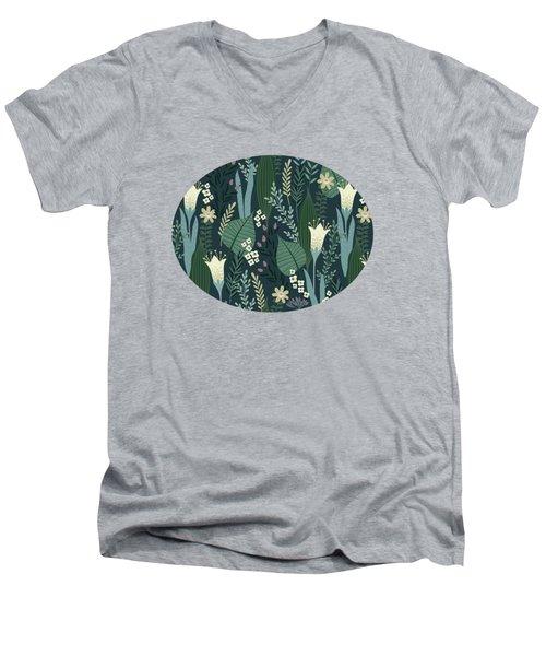 Wonderful Mid Century Style Garden Patten  Men's V-Neck T-Shirt