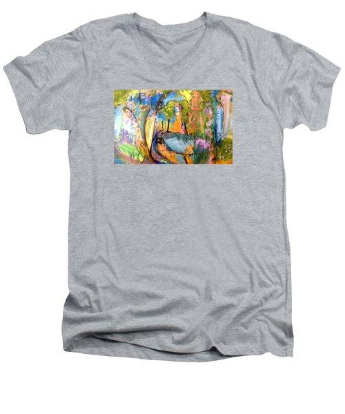 Wondering In The Garden Men's V-Neck T-Shirt by Judith Desrosiers