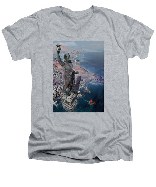 wonders the Colossus of Rhodes Men's V-Neck T-Shirt by Te Hu