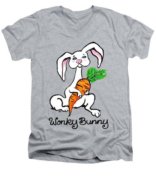 Wonky Bunny Carrot Men's V-Neck T-Shirt by Katherine Nutt