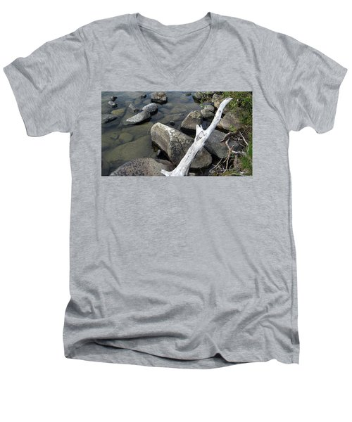 Wood And Rocks In Water Men's V-Neck T-Shirt
