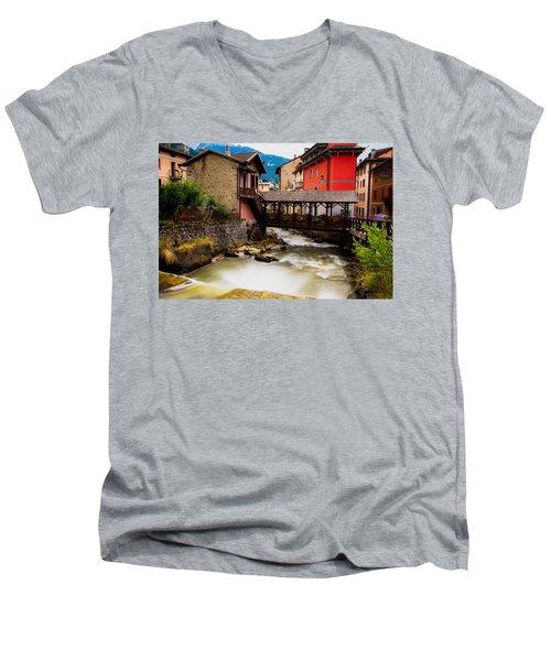 Wood Bridge On The River Men's V-Neck T-Shirt by Cesare Bargiggia
