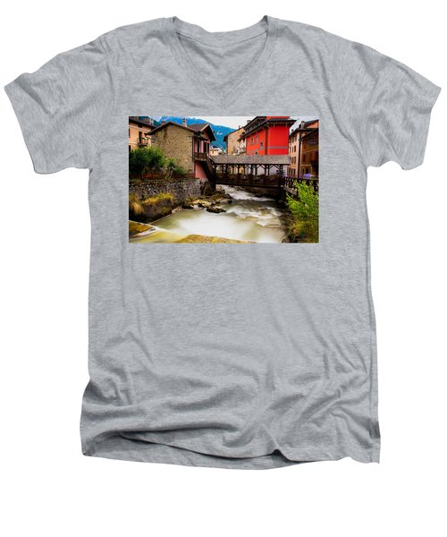Wood Bridge On The River Men's V-Neck T-Shirt