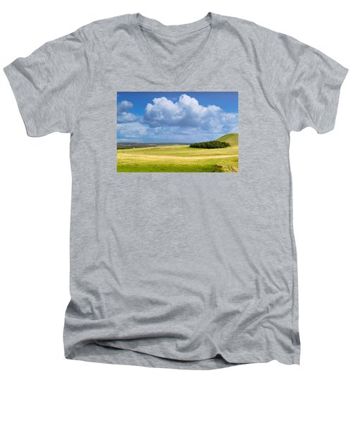 Wood Copse On A Hill Men's V-Neck T-Shirt by John Williams