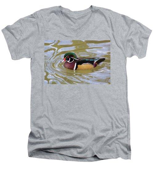 Wood Duck Men's V-Neck T-Shirt by David Stasiak