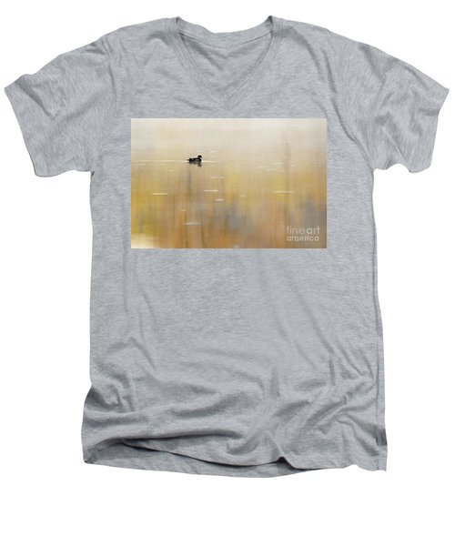 Men's V-Neck T-Shirt featuring the photograph Wood Duck On Golden Pond by Larry Ricker