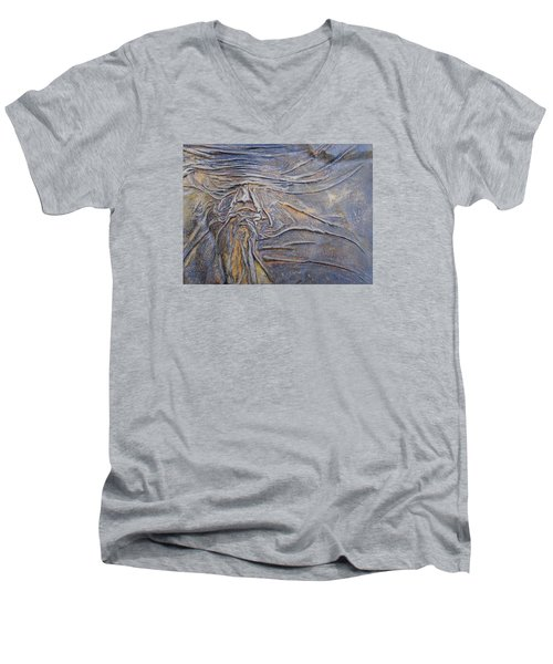 Men's V-Neck T-Shirt featuring the painting Wood Face  by Steve  Hester