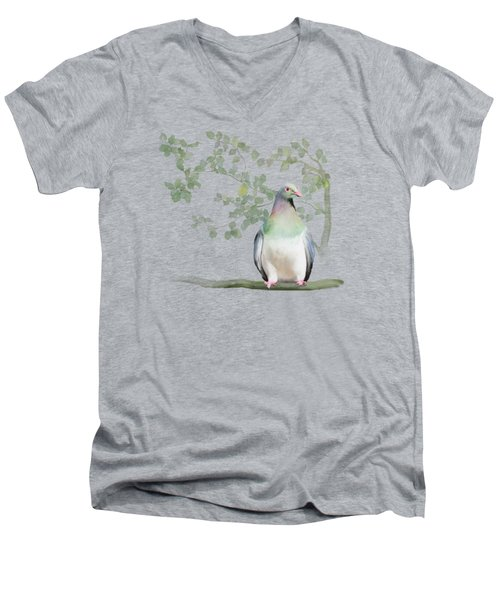 Wood Pigeon Men's V-Neck T-Shirt by Ivana Westin