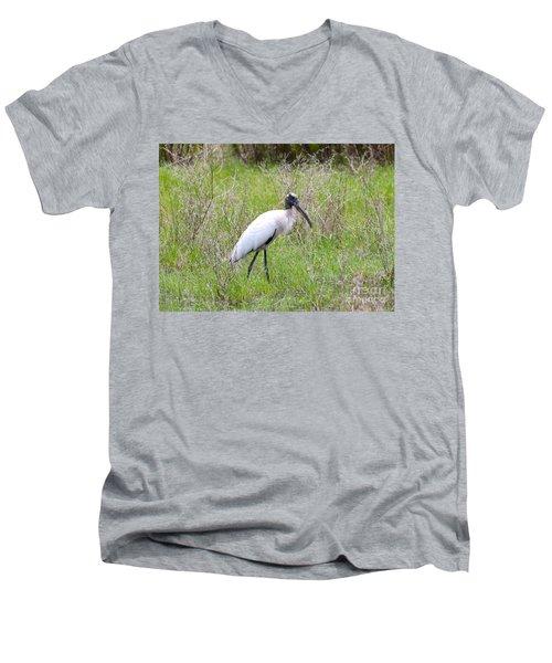 Wood Stork In The Marsh Men's V-Neck T-Shirt by Carol Groenen