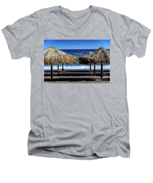 Wood Thatch Umbrellas On Black Sand Beach, Perissa Beach, In Santorini, Greece Men's V-Neck T-Shirt