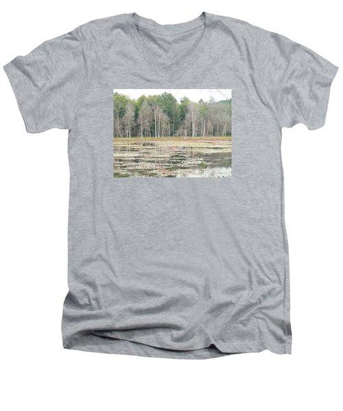 Woodbourne Swamp Men's V-Neck T-Shirt by Christine Lathrop