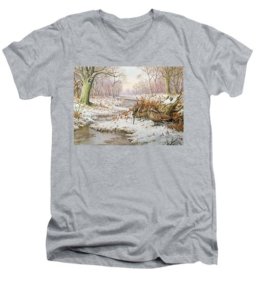 Woodcock Men's V-Neck T-Shirt by Carl Donner