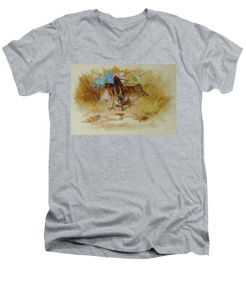 Woodcock In A Sandy Hollow By Thorburn Men's V-Neck T-Shirt
