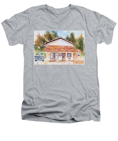 Woodcock Insurance In Watercolor  W406 Men's V-Neck T-Shirt