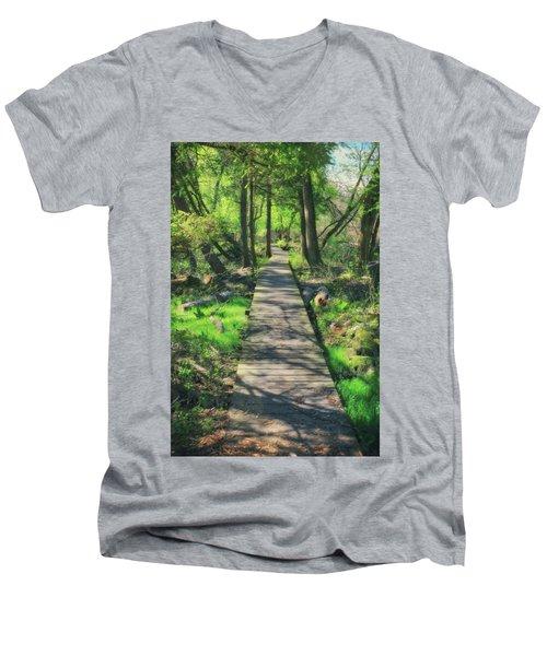 Wooded Path - Spring At Retzer Nature Center Men's V-Neck T-Shirt by Jennifer Rondinelli Reilly - Fine Art Photography